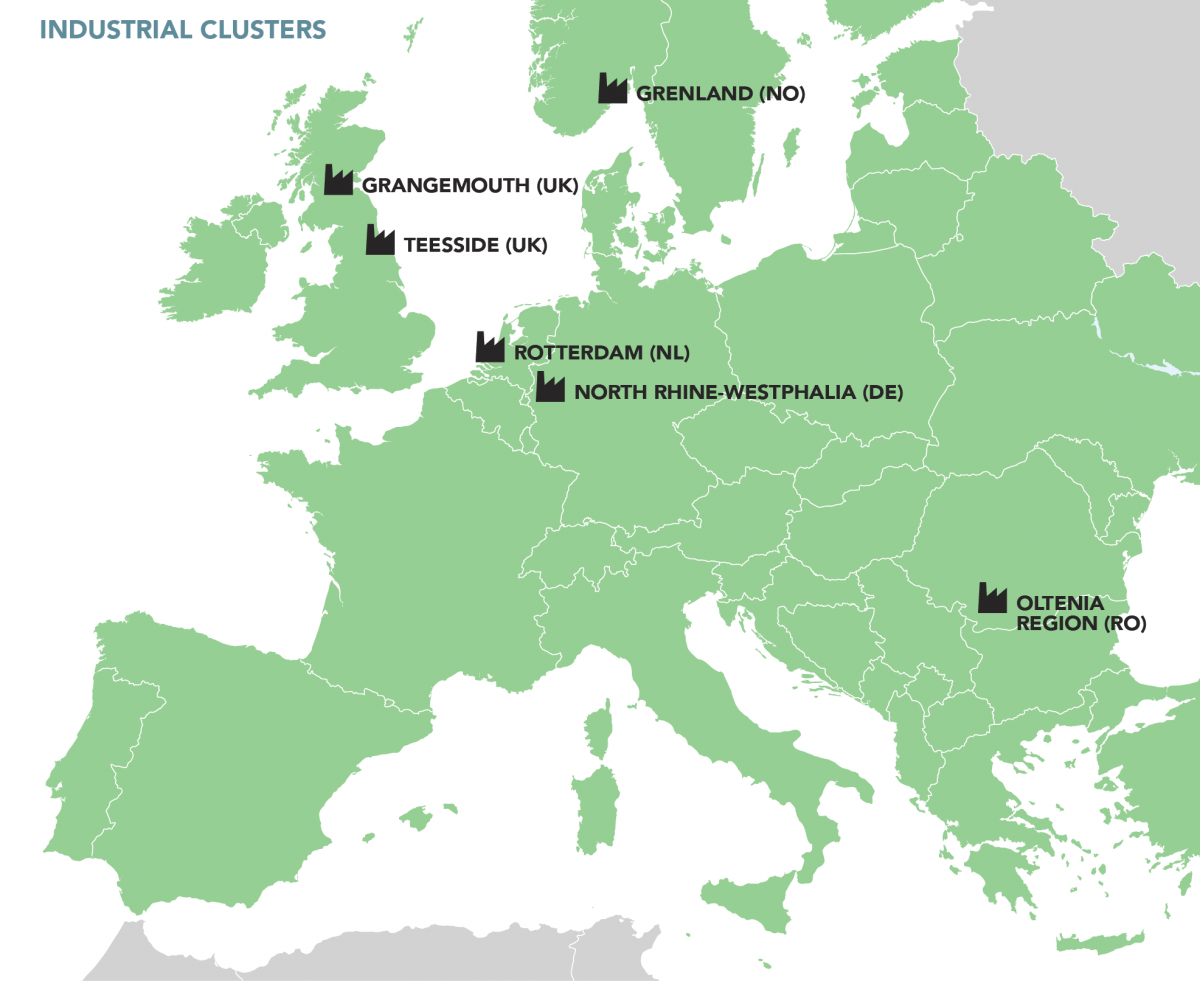 Map of Europe showing areas of Industrial involvement