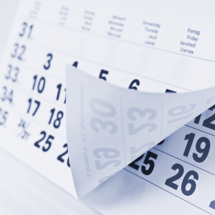 paper calendar showing dates