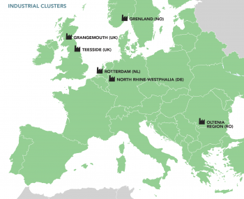 Map of Europe showing industrial clusters